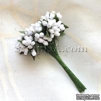 Веточки с маленькаими ягодками, цвет белый, 1 пучок из 12 штук