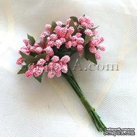 Веточки с маленькаими ягодками, цвет розовый, 1 пучок из 12 штук