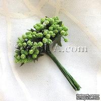 Веточки с маленькаими ягодками, цвет зеленый, 1 пучок из 12 штук