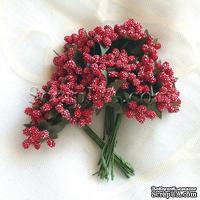 Веточки с маленькаими ягодками, цвет красный, 1 пучок из 12 штук