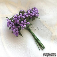 Веточки с маленькими ягодками, цвет фиолетовый, 1 пучок из 12 штук