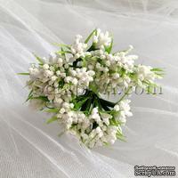 Веточки декоративные с миниатюрными ягодками, цвет белый, пучок из 12 штук