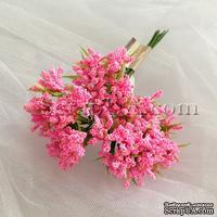 Веточки декоративные с миниатюрными ягодками, цвет розовый, пучок из 12 штук