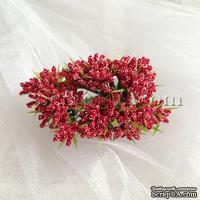 Веточки декоративные с миниатюрными ягодками, цвет красный, пучок из 12 штук