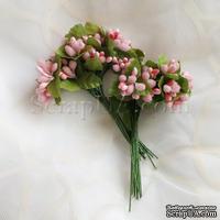 Веточки декоративные с ягодками, цвет розовый, 1 пучок из 10 штук