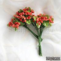 Веточки декоративные с ягодками, цвет оранжевый, 1 пучок из 10 штук