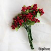 Веточки декоративные с ягодками, цвет красный, 1 пучок из 10 штук
