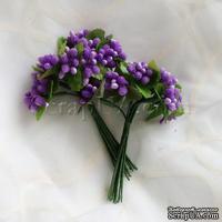 Веточки декоративные с ягодками, цвет фиолетовый, 1 пучок из 10 штук