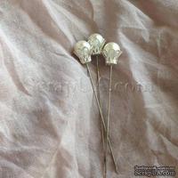 Декоративная булавка с жемчужиной в оправе, круглая, цвет белый, 1 шт.