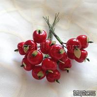 Яблочки маленькие, цвет красный, 6 штук