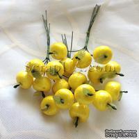 Яблочки маленькие, цвет желтый, 6 штук