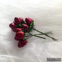 Земляника, цвет-бордово-розовый, пучок из 6 штук