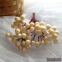 Ягодки круглые, цвет кремовый, 12 штук