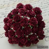 Цветы розочек от Thailand - BURGUNDY, 10 мм, 10 шт