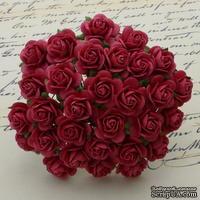 Открытые розочки, цвет коралловый красный, диаметр - 15мм, 10 шт.