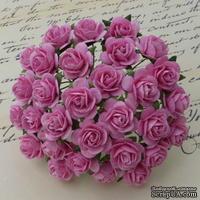Открытые розочки, цвет розовый, диаметр - 15мм, 10 шт.