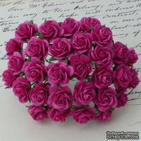 Открытые розочки, цвет темно-розовый, диаметр - 15мм, 10 шт.