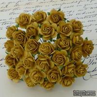 Открытые розочки, цвет старое золото, диаметр - 15мм, 10 шт.