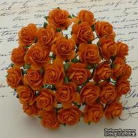 Открытые розочки, цвет оранжевый, диаметр - 15мм, 10 шт.