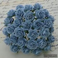 Открытые розочки, цвет нежно-голубой, диаметр - 10мм, 10 шт.
