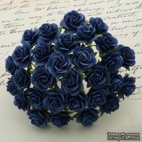 Открытые розочки, цвет темно-синий, диаметр - 10мм, 10 шт.