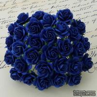 Открытые розочки, цвет королевский синий, диаметр - 15мм, 10 шт.
