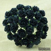 Открытые розочки, цвет черный, диаметр - 10мм, 10 шт.