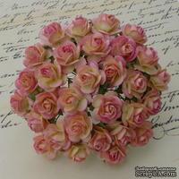 Открытые розочки, цвет розово-кремовый, диаметр - 15мм, 10 шт.
