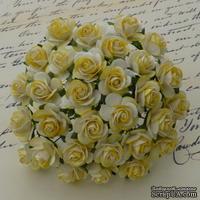 Набор открытых двутоновых роз, цвет - белый/желтый, 10 мм, 10 шт.