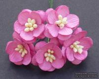 Цветы вишни, цвет розовый, диаметр - 25мм, 5 шт.