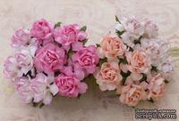 Садовая роза, цвет 4 розовых оттенка, диаметр - 25мм, 20 шт.