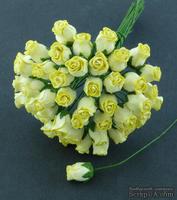 Набор роз с полуоткрытым бутоном, цвет - желтый, 5 шт.