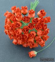 Набор роз с полуоткрытым бутоном, цвет - винный красный, 5 шт
