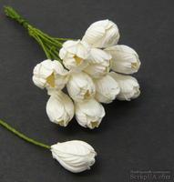 Тюльпан, цвет белый, диаметр - 10мм, 10 шт.