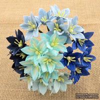 Набор лилий, микс цветов (голубые оттенки), 30мм, 50 шт.