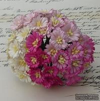 Маргаритки, микс цветов (белый, розовый), 25мм, 50 шт.