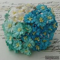 Маргаритки, цвет белый и оттенки голубого, диаметр - 25мм, 50 шт. - ScrapUA.com