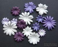 Набор цветов сиреневого и белого оттенков, 20-50 мм, 20 шт