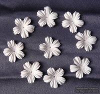 Цветы, цвет белый, диаметр - 27мм, 10 шт.