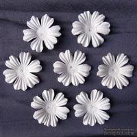 Цветы, цвет белый, диаметр - 38мм, 10 шт.