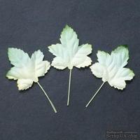 Набор бумажных листьев клена, цвет - зеленый/белый, 45 мм, 10 шт
