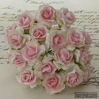 Дикая роза, цвет белый с нежно-розовой серединкой, диаметр - 30мм, 1 шт.