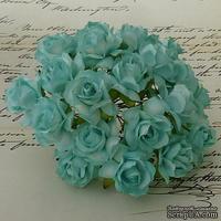 Дикая роза, цвет аквамарин, диаметр - 30мм, 1 шт.