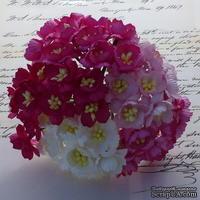 Набор декоративных цветков вишни, ассорти в розовых тонах, 50 шт.