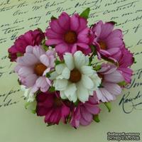 Ромашки, микс цветов (розовый, белый), 45мм, 5 шт.