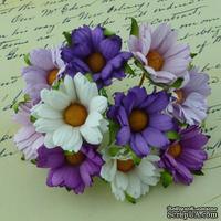 Ромашки, микс цветов (сиреневый, фиолетовый, белый), 45мм, 5 шт.