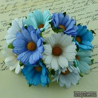 Ромашки, микс цветов (голубой, бирюза, белый), 45мм, 5 шт.