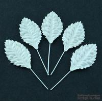 Листики со стеблем из тутовой бумаги от Thailand, белые, 40мм, 10 шт
