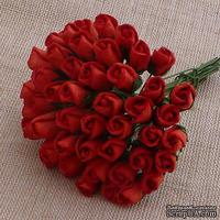 Закрытые бутоны роз, цвет красный, 8 мм, 10 штук