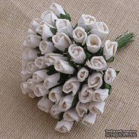 Закрытые бутоны роз, цвет белый, 8 мм, 10 штук